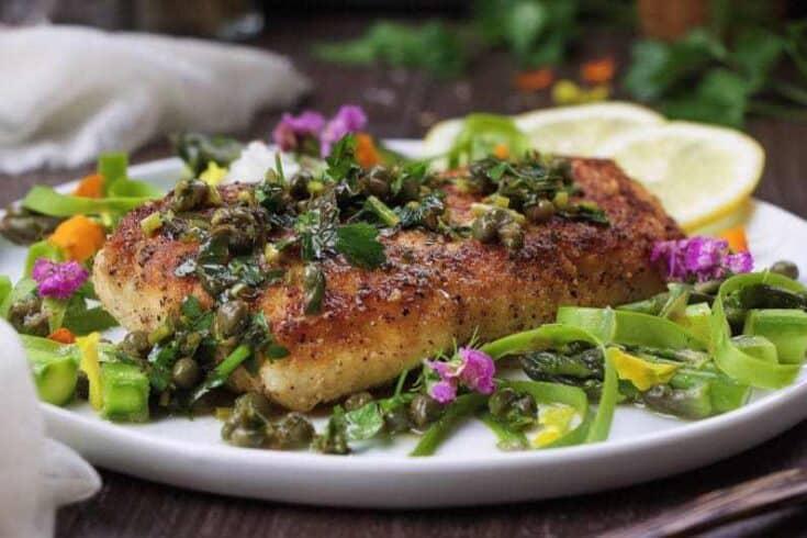 Halibut Lemon Piccata Asparagus Salad