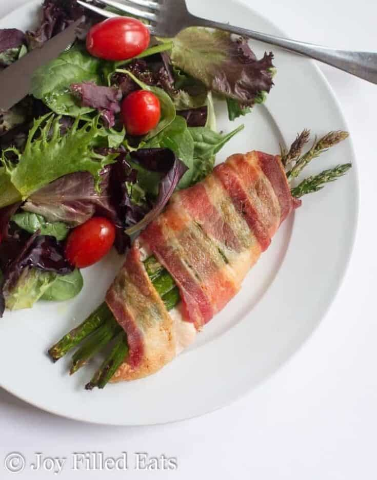 Stuffed Chicken with Asparagus Wrapped in Bacon