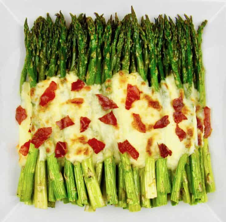 Cheesy Roasted Asparagus with Crispy Prosciutto
