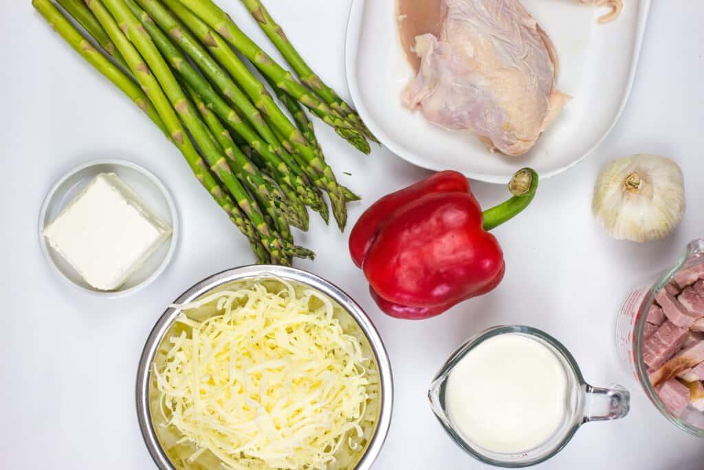 ingredients to make chicken, ham & asparagus casserole