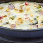 a closeup shot of Chicken, Ham & Asparagus Casserole