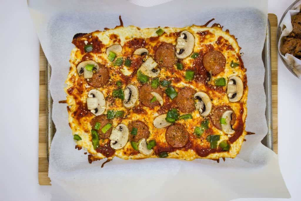 all cooked - crustless pizza recipe that's golden brown around the edges