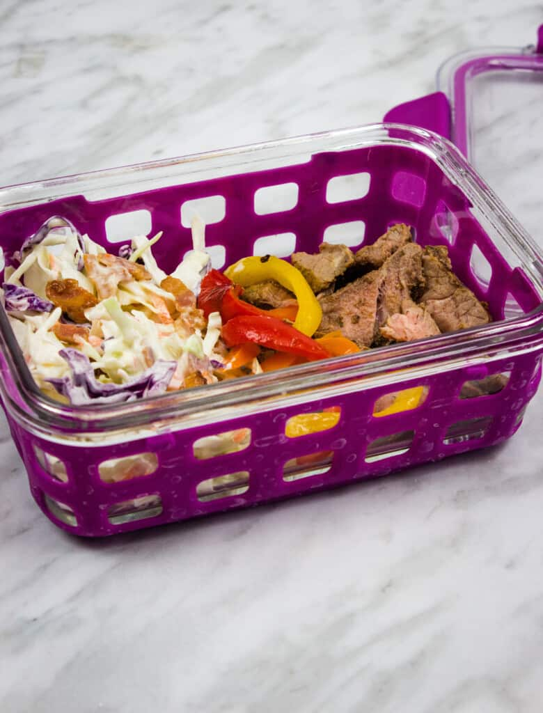 pickle slaw with leftovers in a meal prep container