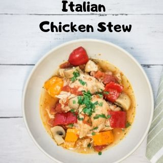 A serving of Italian Chicken Stew in a white bowl.
