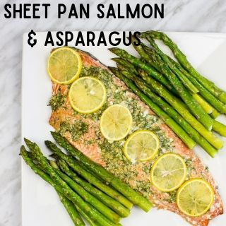 sheet pan salmon & asparagus on a square plate