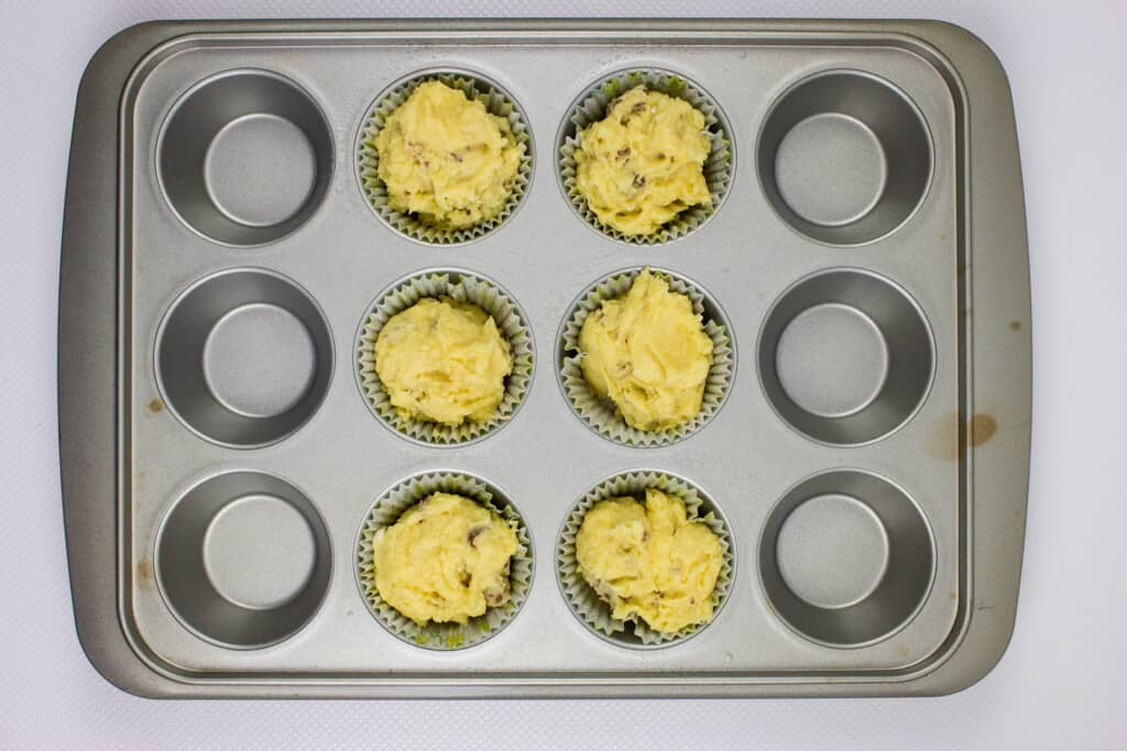 fill six muffin cups with the batter