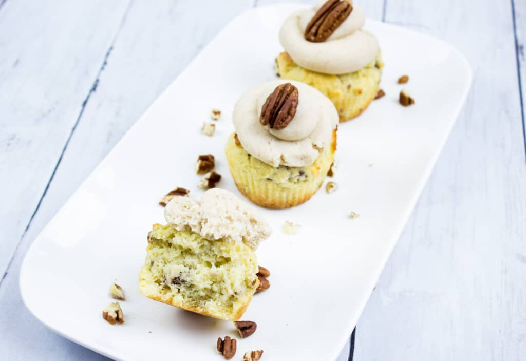 pecan cupcakes on a plate
