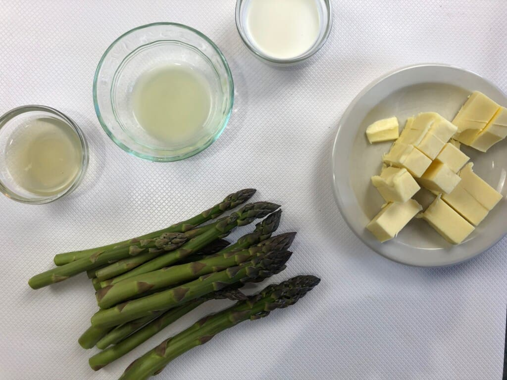 asparagus, butter, lemon juice, cream, and chicken broth