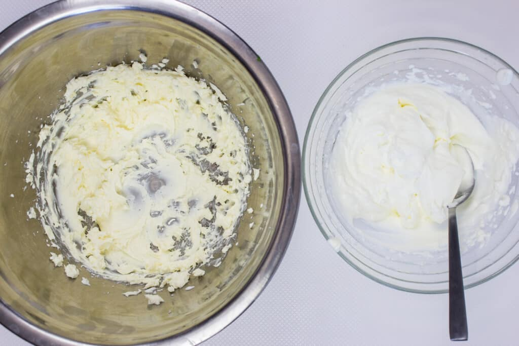 use a hand-mixer to whip cream and cheese in separate bowls