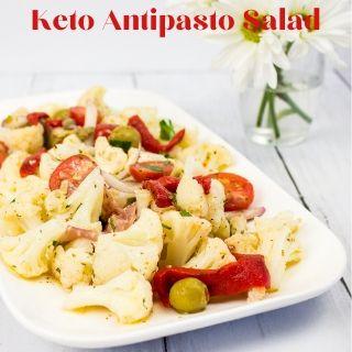 keto antipasto salad on a rectangular platter