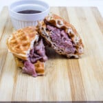 keto french beef chaffle cut in half with a side of jus