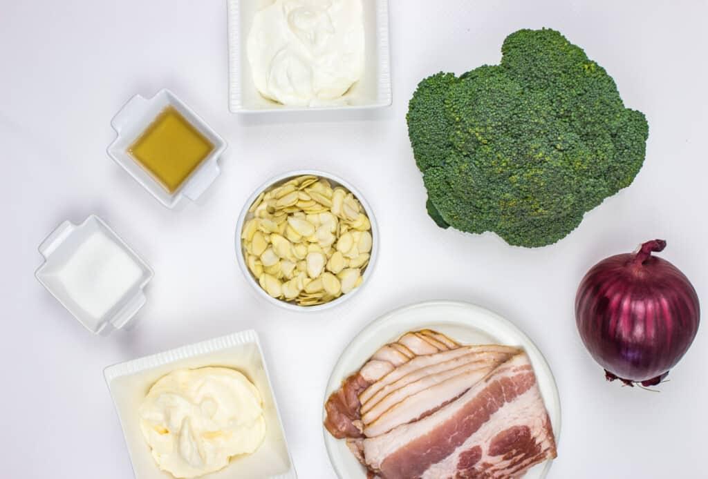 keto broccoli salad with bacon ingredients