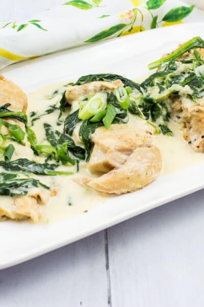 keto chicken florentine on a rectangular platter