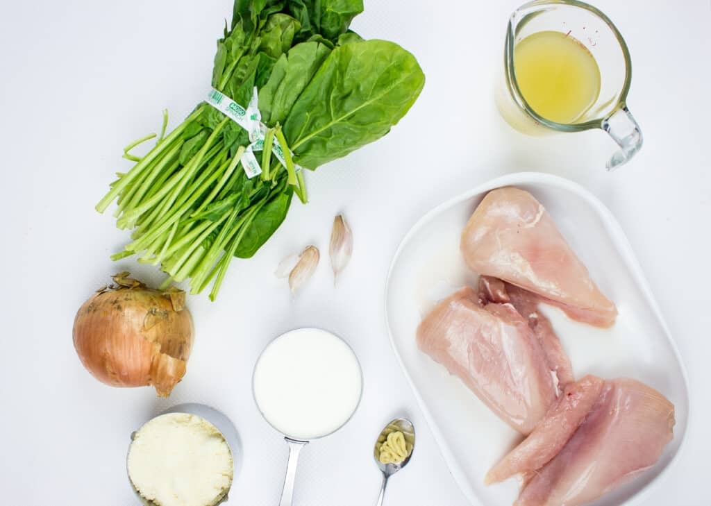ingredients to make keto chicken florentine in the instant pot