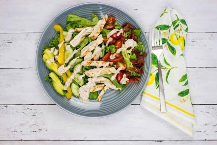 keto cobb salad on a gray plate