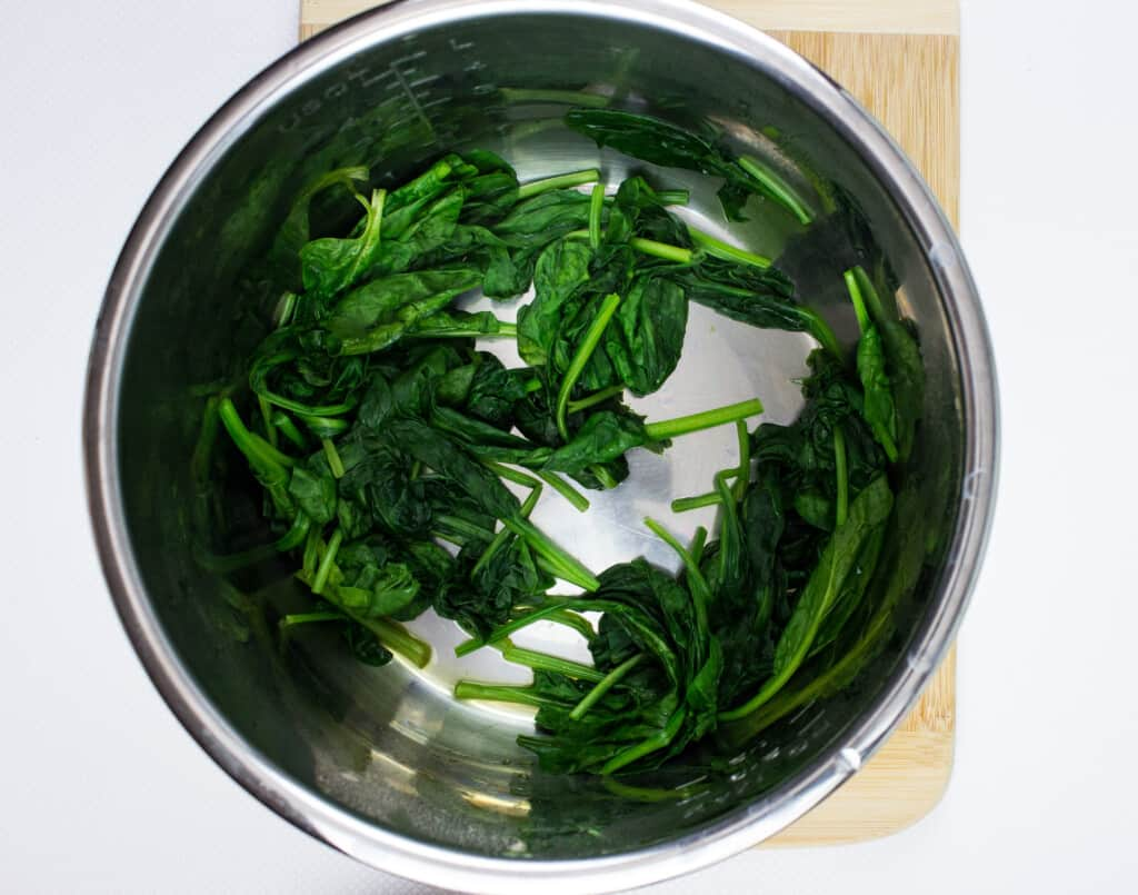 wilted spinach made in the instant pot