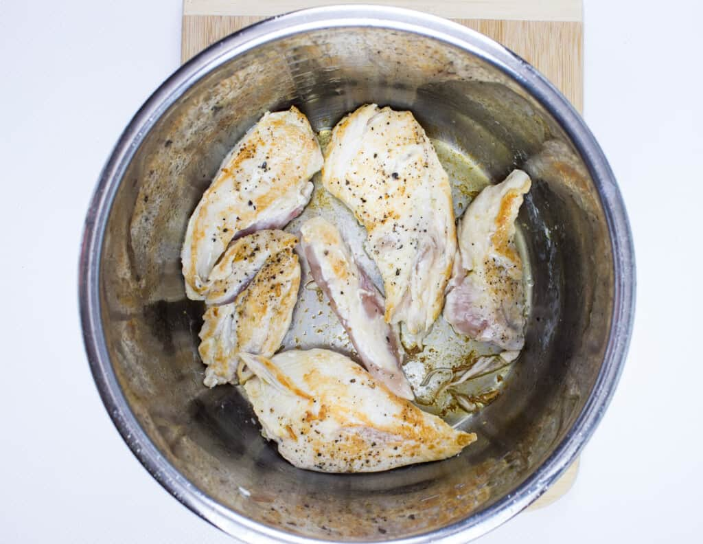 sautee the chicken in the instant pot until brown