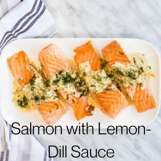 keto salmon with lemon dill sauce on a platter