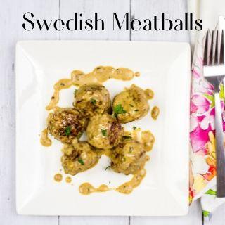 keto swedish meatballs on a white square plate