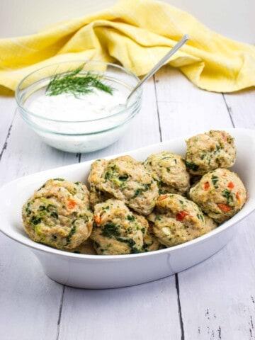 keto greek meatballs in a serving bowl