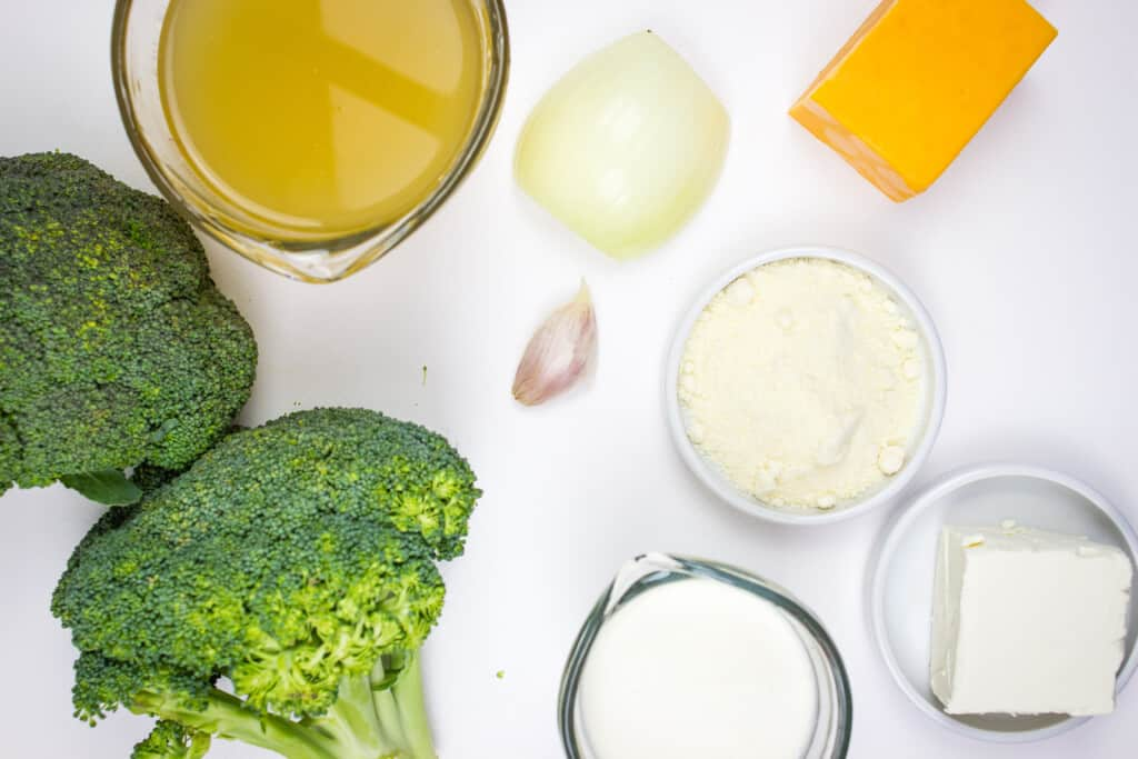 ingredients to make keto broccoli cheese soup