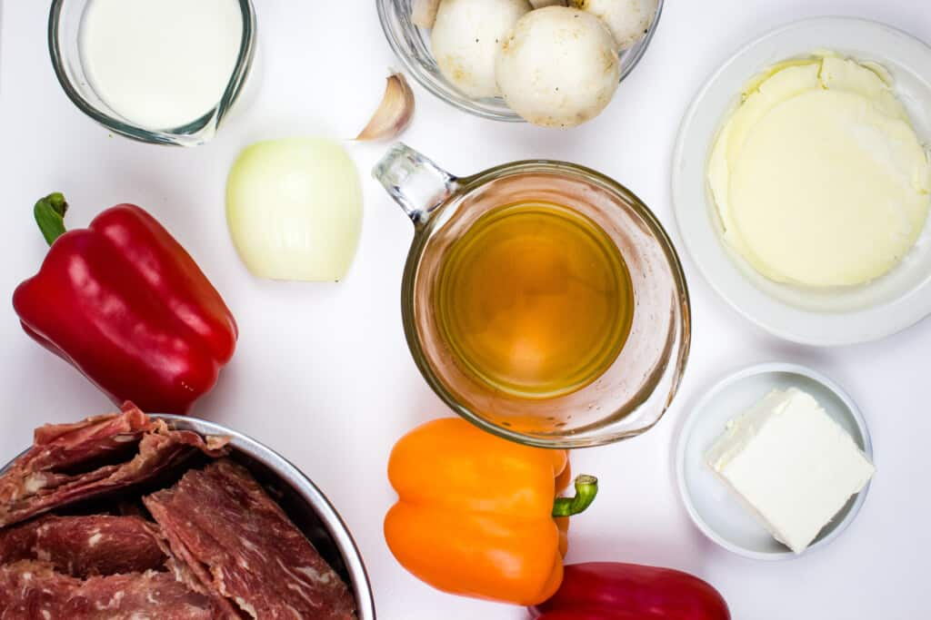 ingredients to make keto philly cheesesteak stuffed peppers