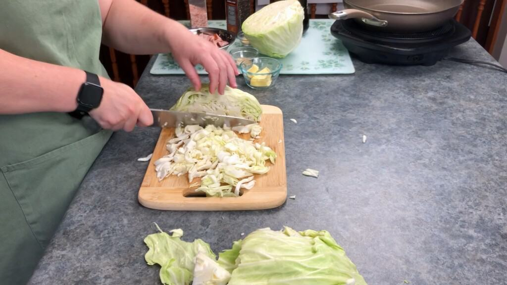 chop the cabbage into small squares