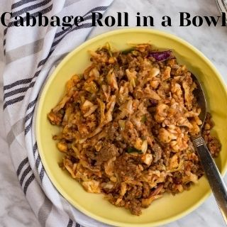 cabbage roll in a bowl in a serving bowl