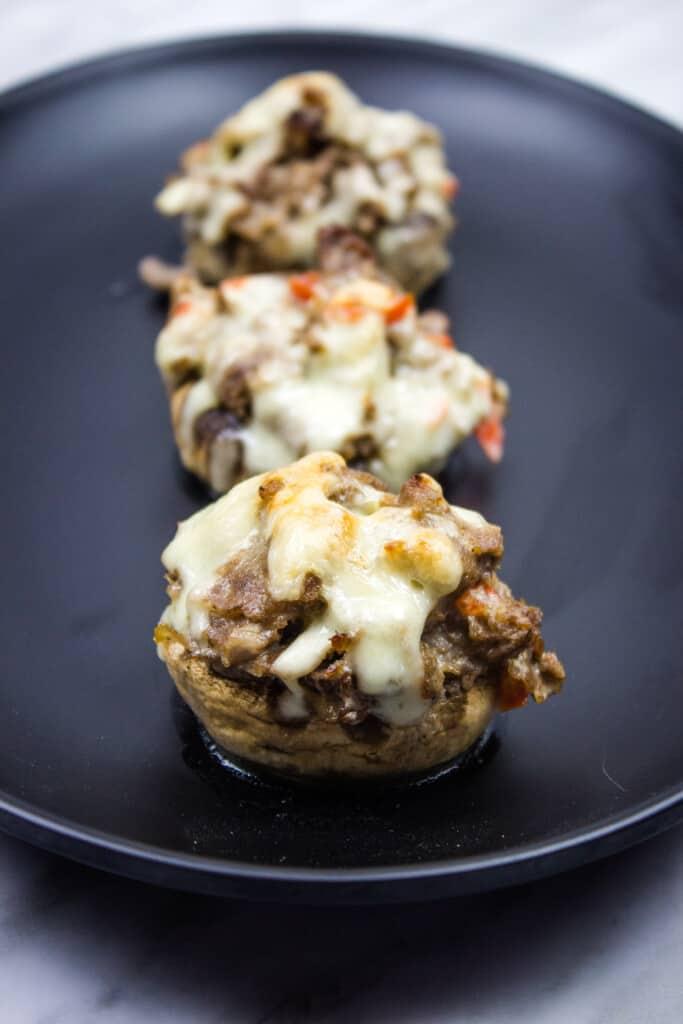 keto philly cheesesteak stuffed mushroom caps