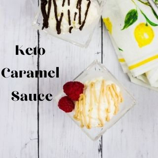 rich and creamy keto caramel sauce on ice cream