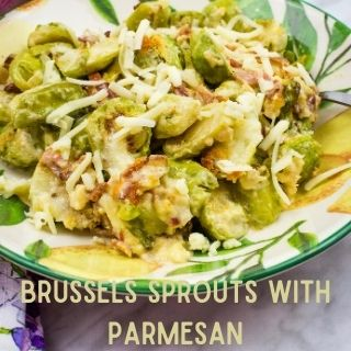 Brussels sprouts with parmesan in a serving bowl