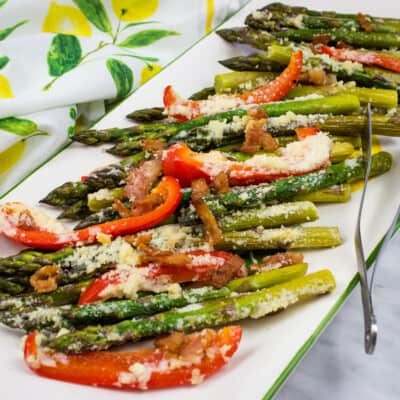 Cheesy Baked Asparagus with Bacon & Peppers