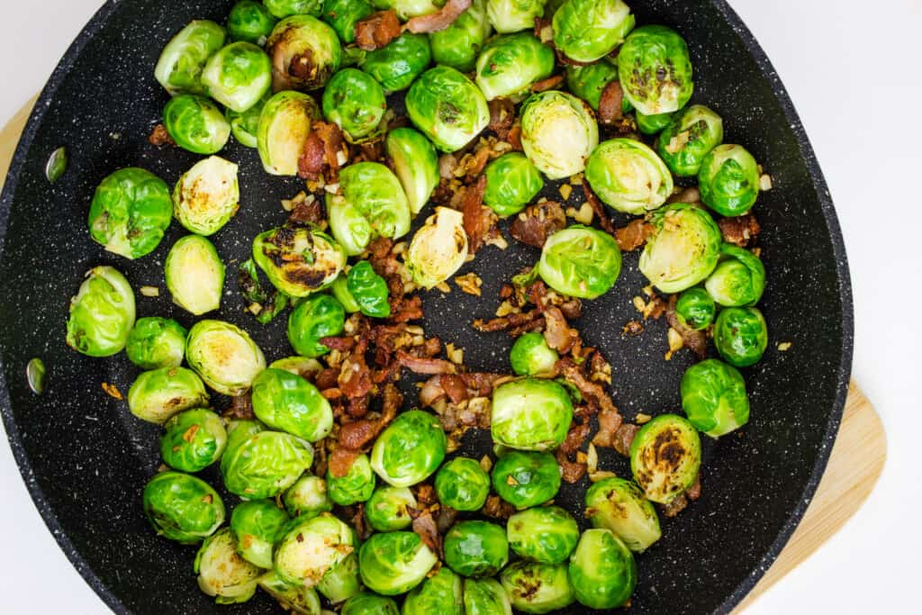 pan roast keto parmesan brussels sprouts until golden