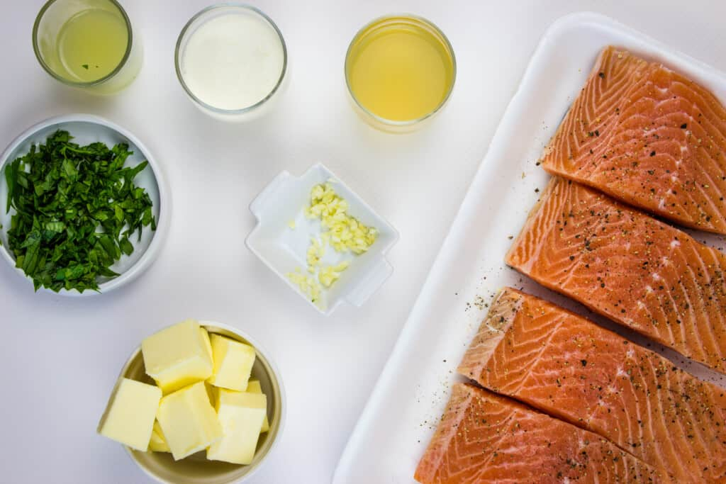 prepped ingredients, including 4 salmon filets