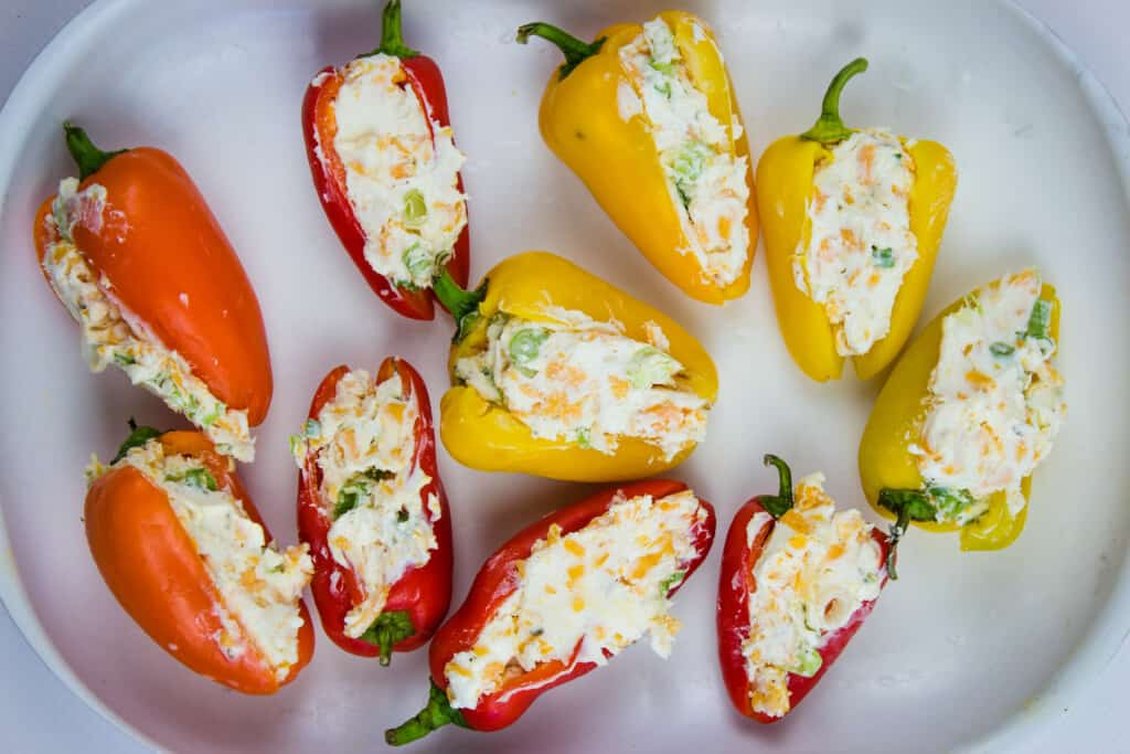 mini sweet peppers filled with cream cheese