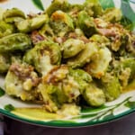 keto parmesan brussels sprouts in a serving bowl