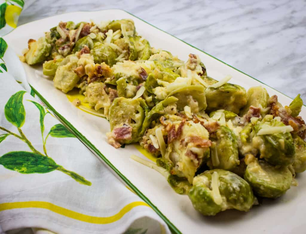 keto brussels sprouts with bacon on a rectangular serving dish