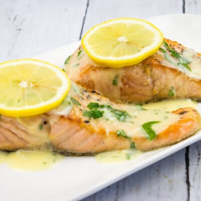 Salmon with Lemon-Herb Butter Sauce