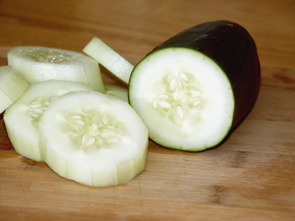 regular waxy cucumbers sliced and peeled