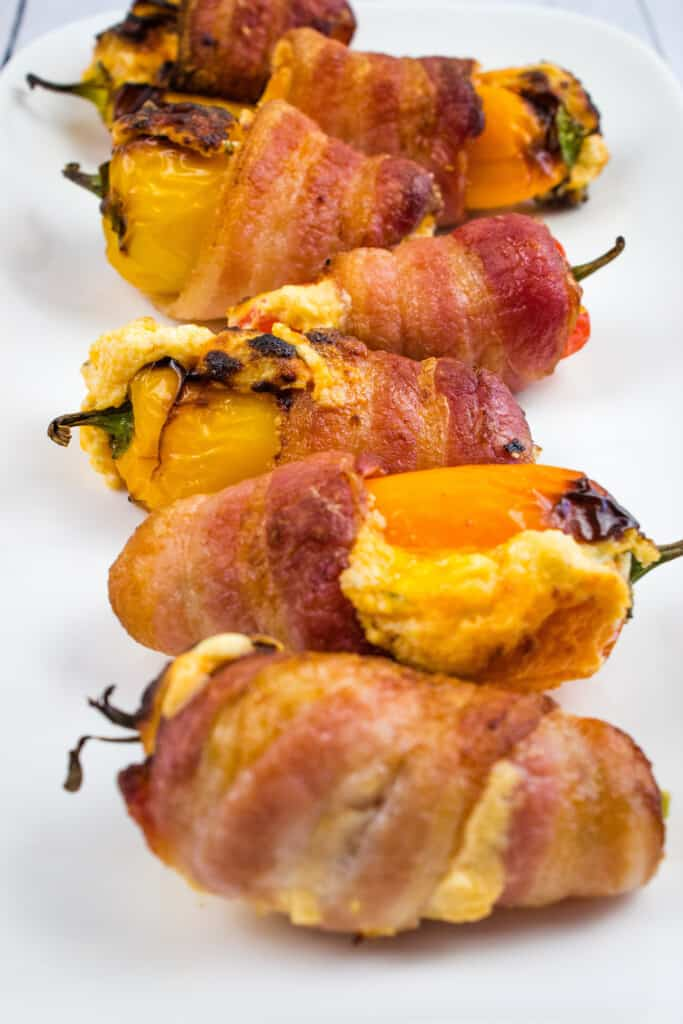 keto sweet pepper poppers on a white dish