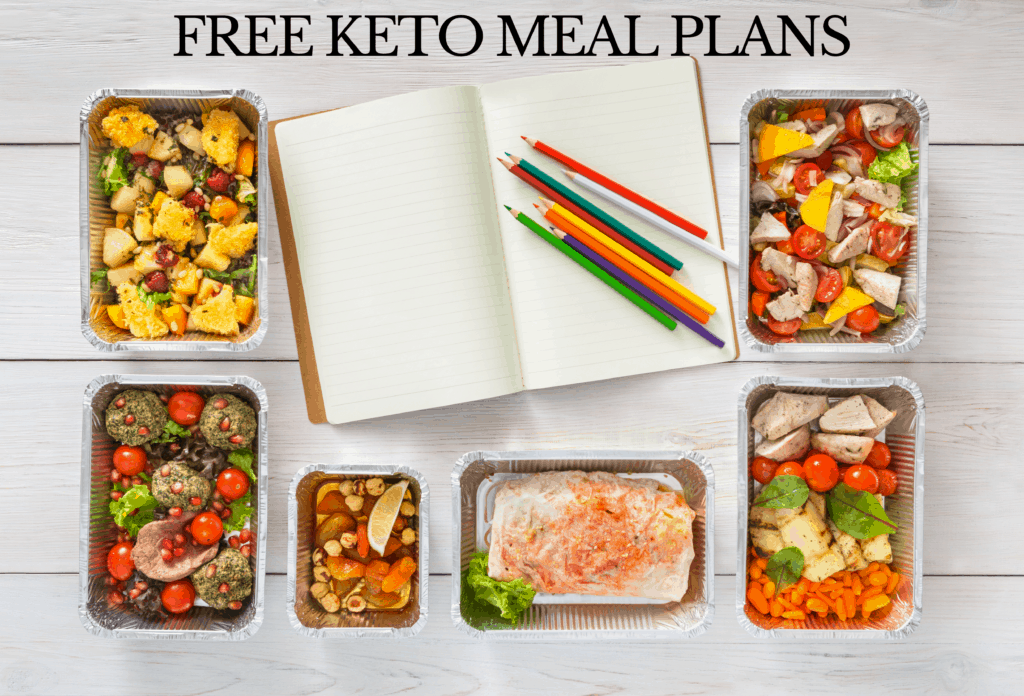 keto free meal plan banner image of notebook and food containers