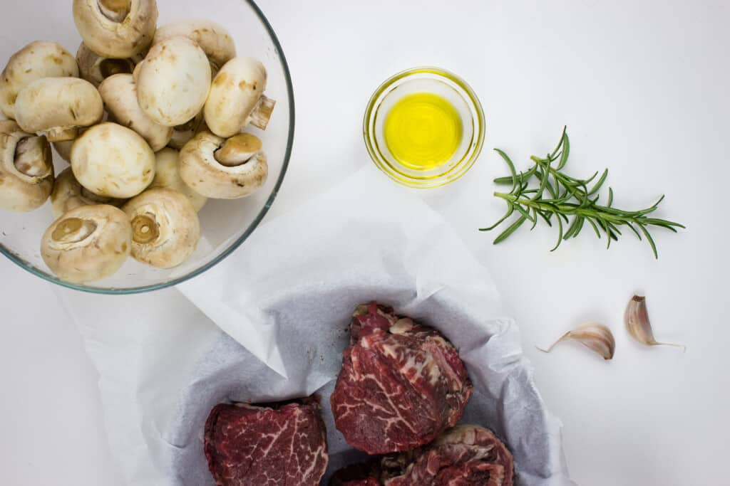 ingredients to make keto beef tenderloin steaks with mushrooms