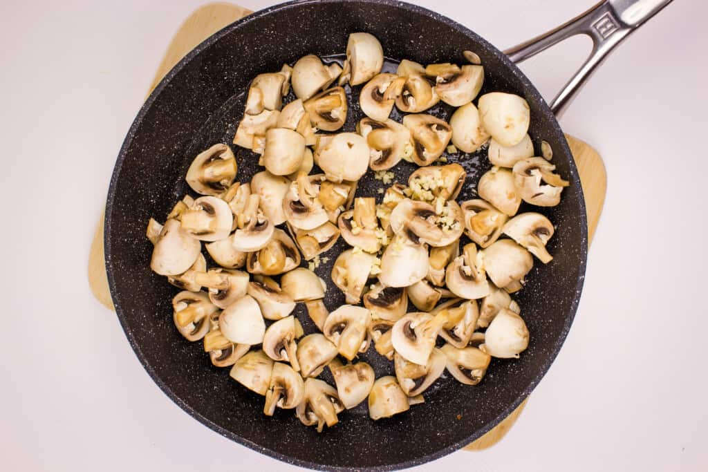 sautee the mushrooms and garlic for a few minutes