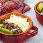 keto beef barbacoa and cauliflower rice in a bowl
