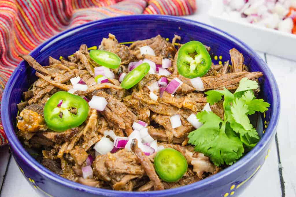 keto beef barbacoa in a serving bowl