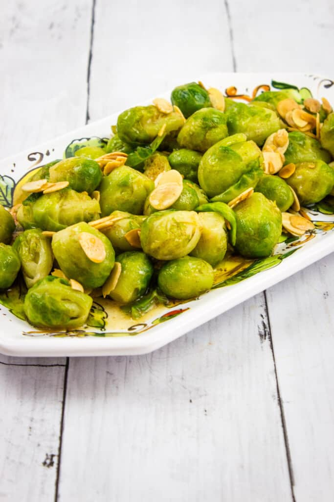 keto brussels sprouts with almonds and brown butter