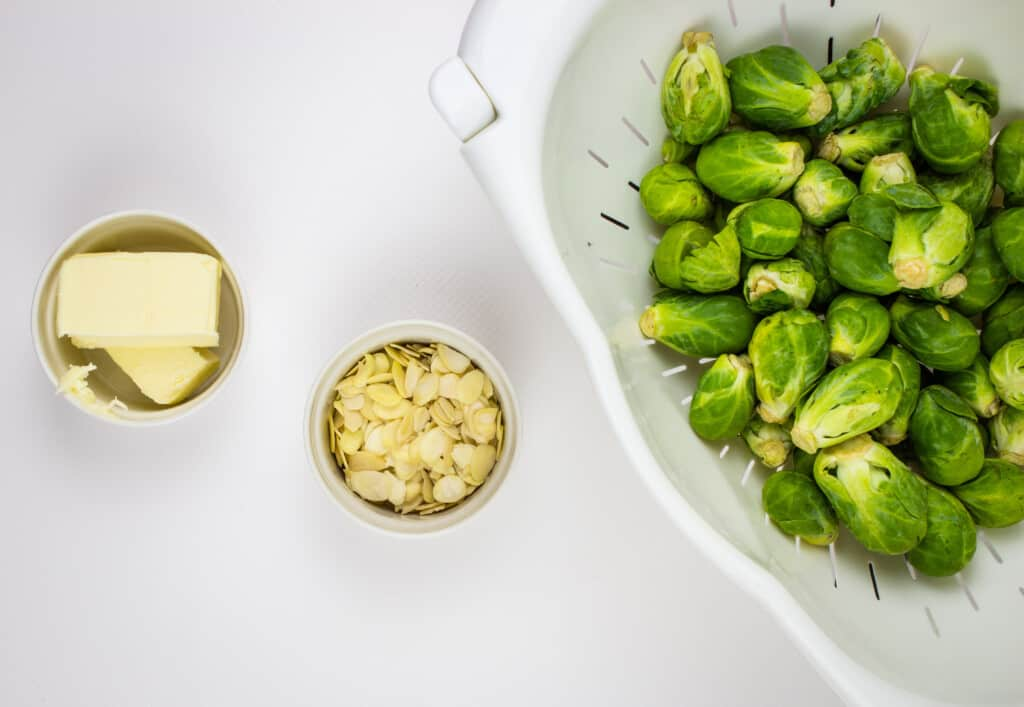 ingredients to make keto brussels sprouts with brown butter and almonds
