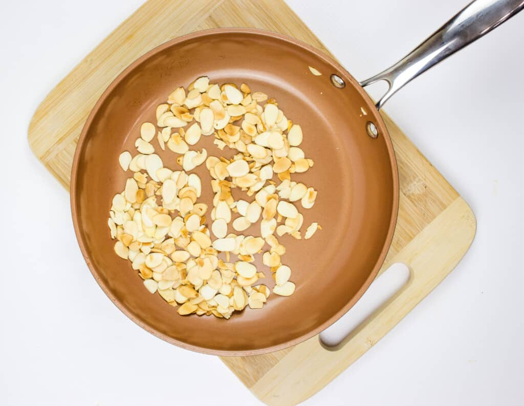toast the almonds in a skillet or pot
