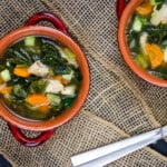 keto turkey vegetable soup in bowls with spoons