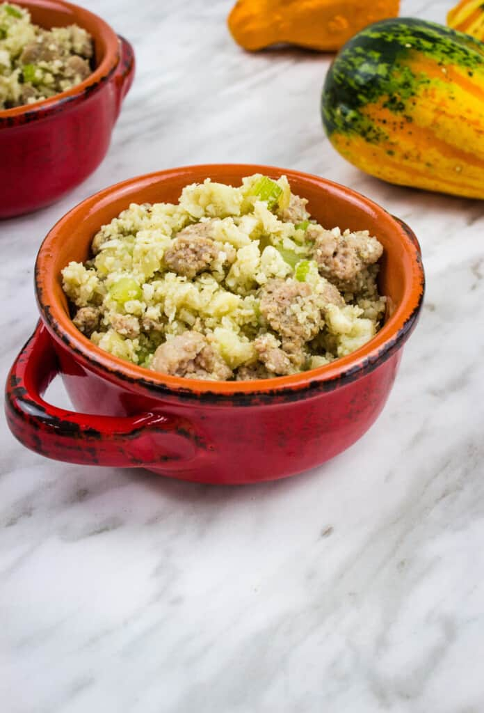 keto stuffing in a red serving bowl